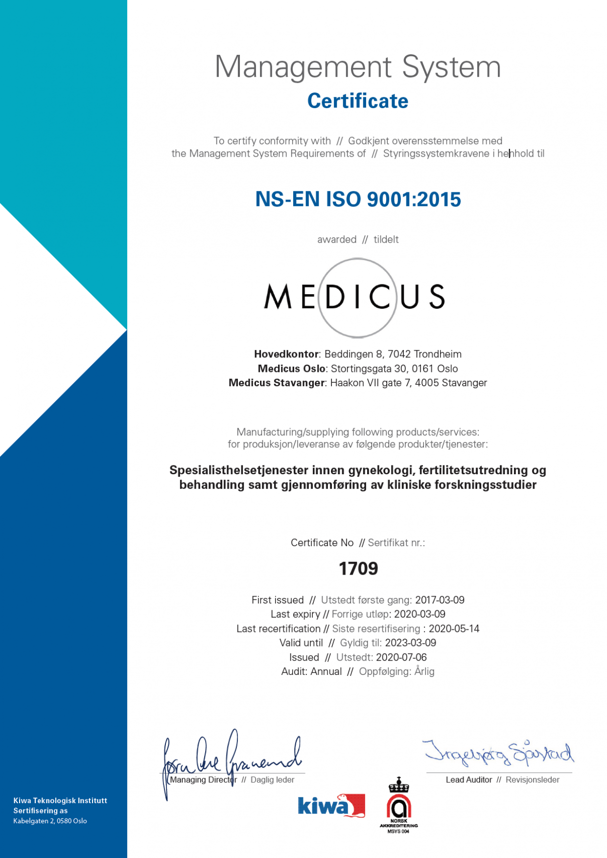 Medicus Iso 2020 2023